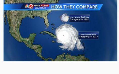 1992年摧残美国的5级飓风安德鲁与5级飓风艾玛比较图!